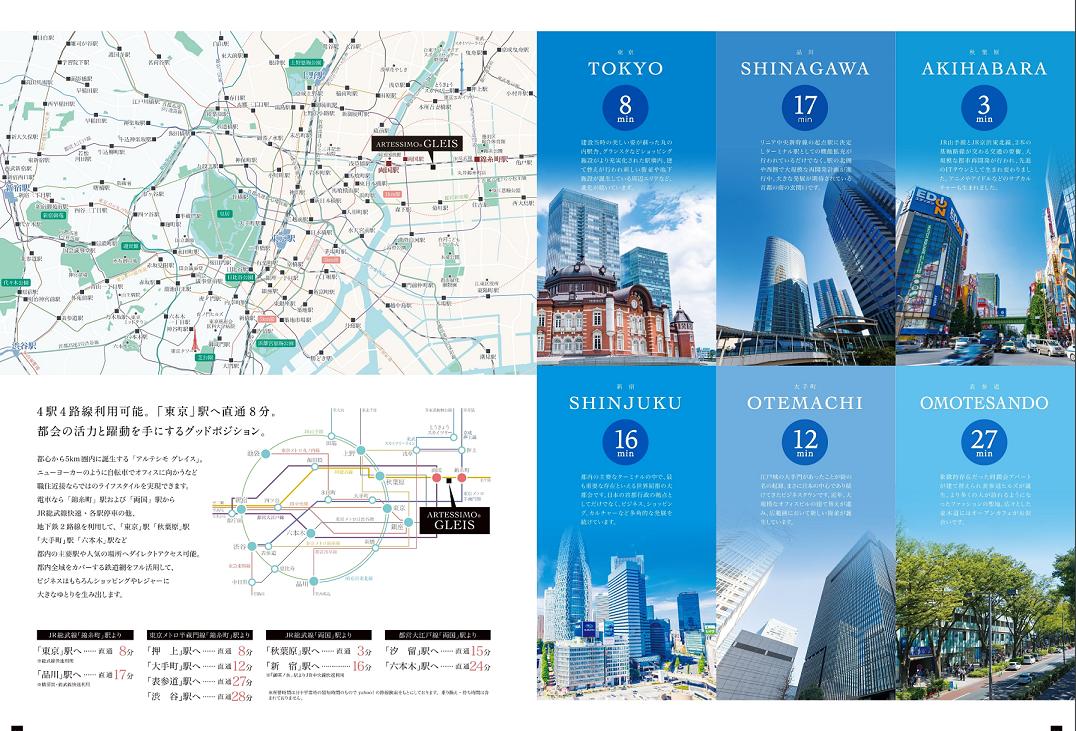 「東京」駅へ直通8分の好アクセス。4駅4路線利用可能。